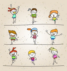 Set of hand drawing cartoon happy kids running vector