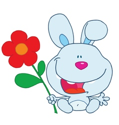Blue Bunny Holding A Flower vector image