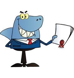 Shark salesman holding a bad contract vector