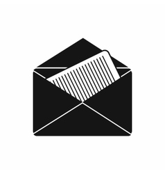 Open envelope with sheet of paper icon vector image