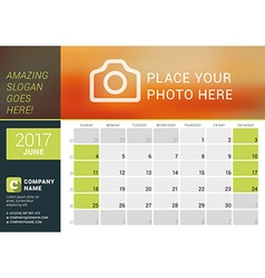 June 2017 desk calendar for 2017 year design print vector