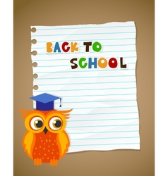 Back to school on wrinkled lined paper and owl eps vector