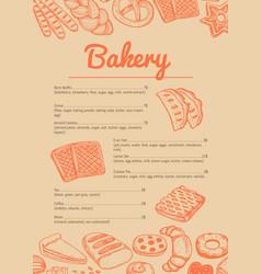 Bakery hand drawn price catalog vector