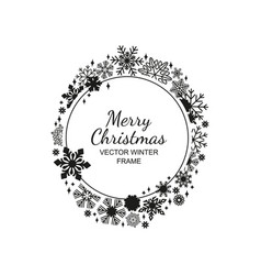 black and white circle snowflake frame christmas vector image vector image