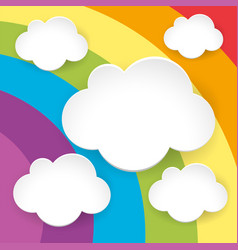 blank fluffy clouds on rainbow background vector image