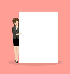 Business woman pointing to the billboard vector image
