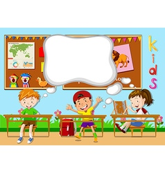 Children learning in the classroom vector