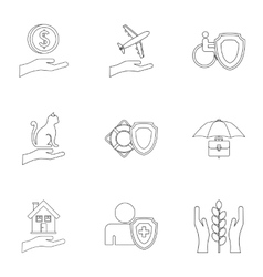Confidence icons set outline style vector
