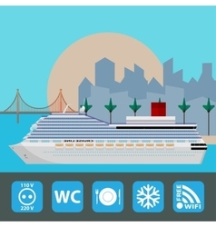 Cruise ship holiday travel poster flat design vector