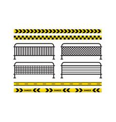 danger tapes danger sign metal fence vector image