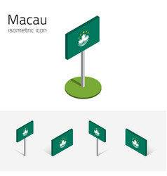 flag of macau set of 3d isometric flat icons vector image vector image