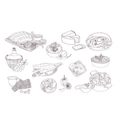georgian cuisine different dishes hand drawn vector image