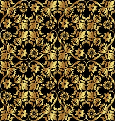 Gold flower pattern vector