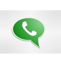 Green phone handset in speech bubble icon vector image vector image
