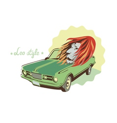 green retro car and lion vector image