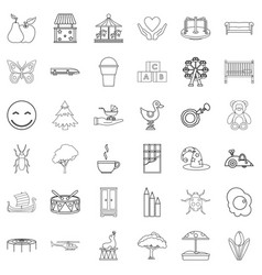 Guardian icons set outline style vector