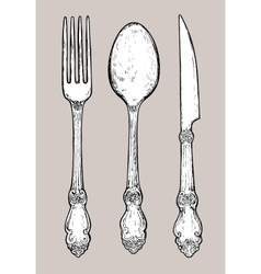 Hand drawn vintage silver cutlery vector