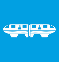Monorail train icon white vector