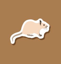 rat paper sticker on stylish background vector image
