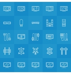 Set of tv icons vector