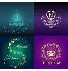 Set shiny cards pattern ornament vector image vector image
