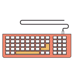 Silhouette color section of computer keyboard vector