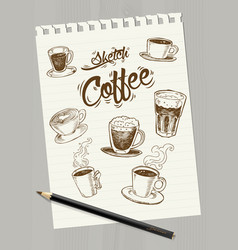 Sketch coffee on paper vector