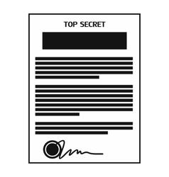 Top secret document black simple icon vector