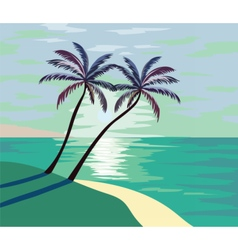 ummer seaside shore with palm trees vector image vector image