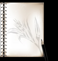 Vintage page of notepad and pencil vector