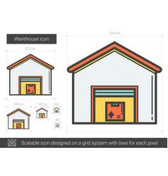 Warehouse line icon vector