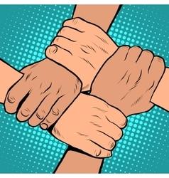 White black solidarity handshake stop racism pop vector