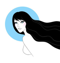 woman black hair vector image