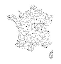 Map of france from polygonal black lines and dots vector