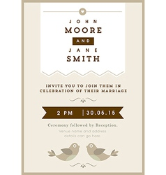 Wedding invitation gold love bird theme vector