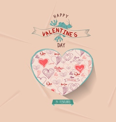 Happy valentines day greeting card with heart vector