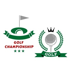 Golfing championship emblems or badges vector