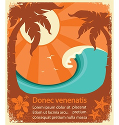 Tropical paradise retro poster vector image