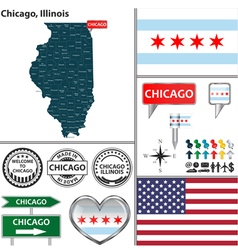 Chicago illinois set vector