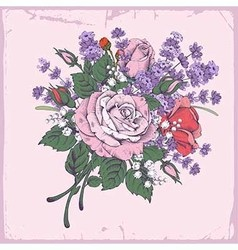 Rose and lavender vector image