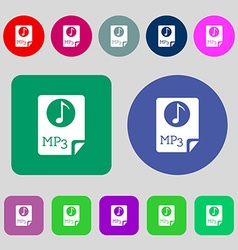 Audio mp3 file icon sign 12 colored buttons flat vector