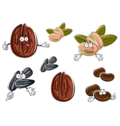 Isolated cartoon nuts seeds and grains vector