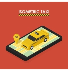 Isometric concept of mobile app for booking taxi vector