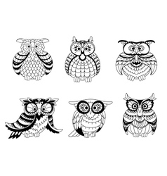 Black and white owls outline silhouettes vector