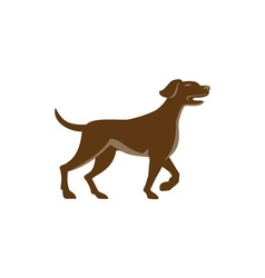 English pointer dog pointing up retro vector