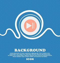 Play button icon blue and white abstract vector
