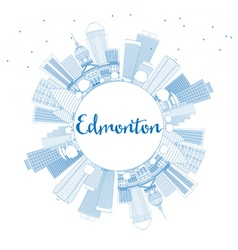 Outline Edmonton Skyline with Blue Buildings vector image