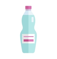 Glass or plastic bottle with sweet blue beverage vector