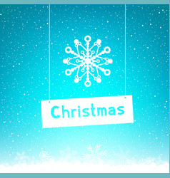 blue winter christmas text snowflake vector image vector image