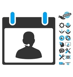 Call Center Manager Calendar Day Icon With vector image